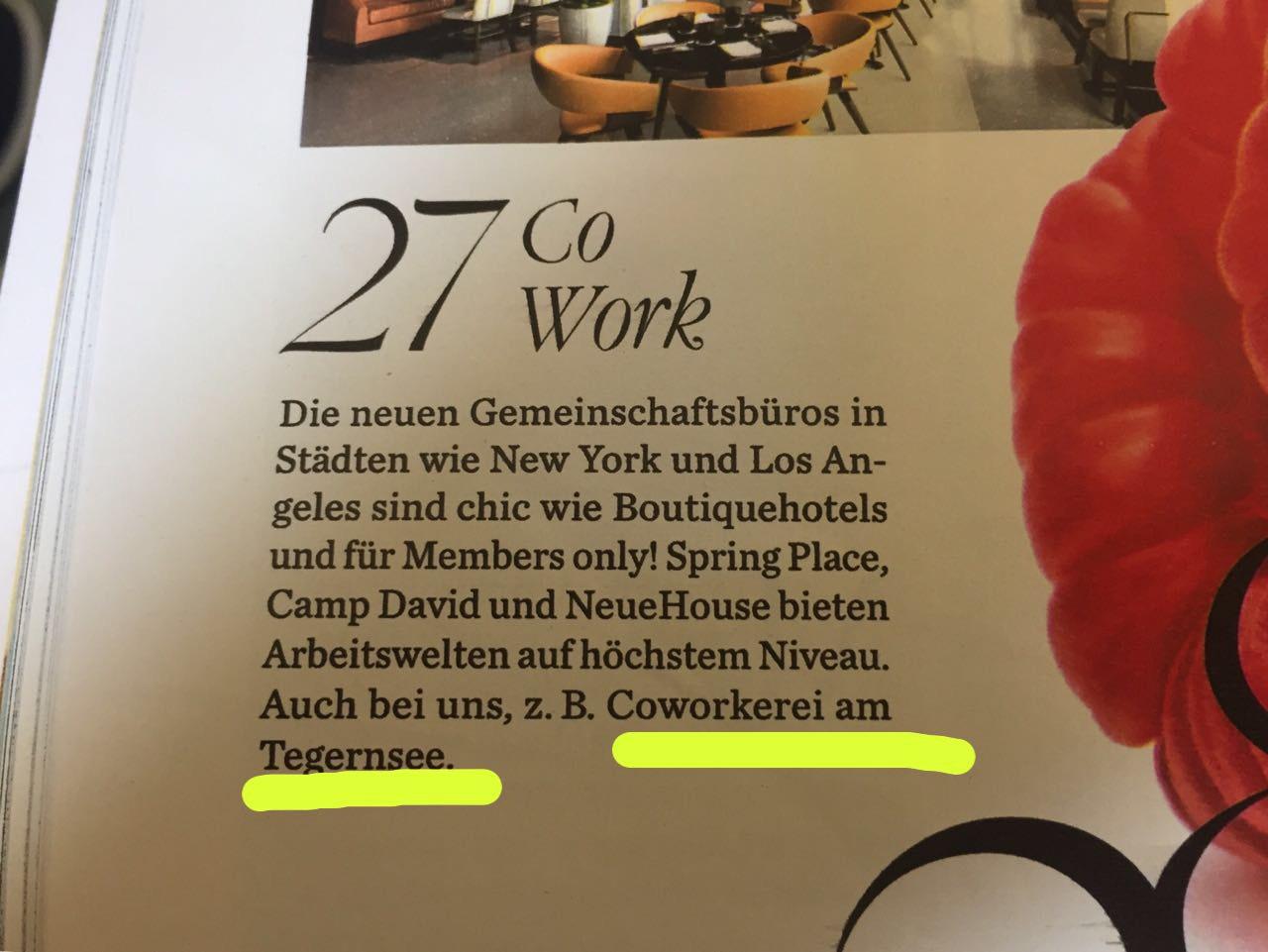 Die COWORKEREI TEGERNSEE jetzt auch schon in der Elle :-)